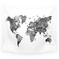 Society6 World Map In Watercolor Gray Wall Tapestry