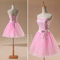 Strapless Waistband Bowknot A-Line Short Bridesmaid Celebrity Cocktail Dress ,Tulle Evening Party Prom New Homecoming Dress