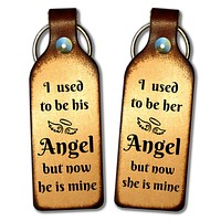 I Used To Be His (or Her) Angel Leather Keychain