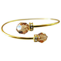 TB843 Inexpensive 18K Gold Plated Bangle Lite Colorado Crystal Cuff Bracelet Free Shipping In US
