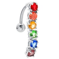 Rainbow Pride Sparkle 316L Stainless Steel Reverse Dangle Belly Ring
