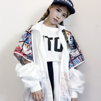 Harajuku style flavor personality graffiti letters loose mesh baseball jacket coat Maternity women Outerwear for pregnant
