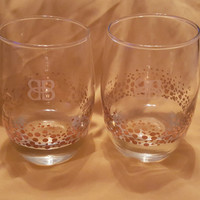 Set of 2 Etched B&B Brandy Collectible Cognac Brandy, Weighted Bottom Glasses With Gold Dots, Cognac Brandy Glasses, Scotch Whiskey Glasses
