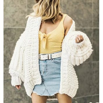 Autumn and winter new thick wool hand-knit lazy wind cardigan jacket