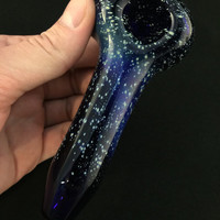 Cobalt Glass Silver Fumed Starry Night  Tobacco Space Pipe