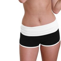 Women Yoga Sport Running Shorts Cropped Leggings Running Tight Jogging Shorts Stretch Running Tight Jogging Trousers #2S