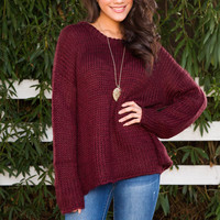 Wynne Oversized Sweater - Burgundy