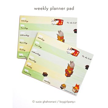 Cat Weekly Planner Pad — Work from Home / Co Worker Gift