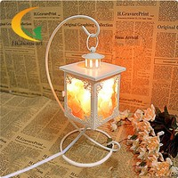 Creative authentic Himalayan salt crystal lamp table lamp bedroom lamp nightlight Continental Iron