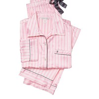Victoria's Secret The Afterhours Satin Pajama 2 Piece Set Pink Stripe Large Regular