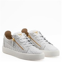 Giuseppe Zanotti Gz Frankie White Crocodile-embossed Leather Low-top Sneaker