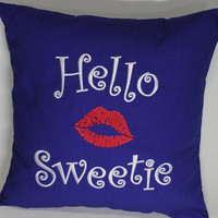 Hello Sweetie Dr Who inspired Embroidered Pillow Case Cover