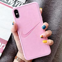 NIKE New fashion hook leather protective case phone case