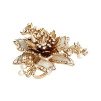Marchesa Crystal & Faux Pearl Flower Ring | Nordstrom