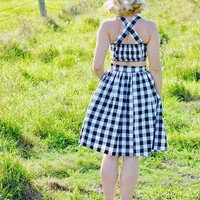Trixie Top in Black & White Gingham print