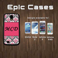 Samsung Galaxy S4 Galaxy S3 and Note 2 Iphone 4/4s Iphone 5 CUSTOM MONOGRAM - White or Black Hard Rubber Case Cover Protector Phone Case