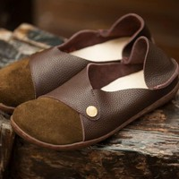 Handmade Retro Soft Leather Loafers Designers Flats For Women Rivet Decorated