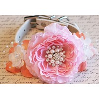 Pink and Peach Floral Peonies Dog Collar, Pet Peach and Pink Wedding, Dog Lovers , Wedding dog collar