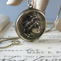 RARE antique Victorian locket with woman figure, gold plated silver with garnets, vintage Edwardian necklace.