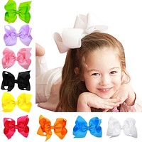 30 Pcs - 6 Inch Solid Hair Bow With Clip