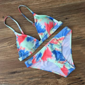 Tie-dye low-rise backless BIKINI swimsuit BIKINI fashion