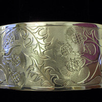 """HE THISTLE BRAC Sterling Silver 18GA 6""""x1 1/4"""" This wide cuff has a Scottish thistle pattern engraved . An average size Ladies wrist,."""