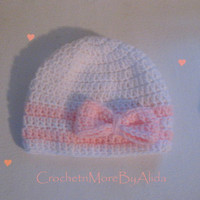 Baby Girl Hat, Crochet Baby Hat, White and Pink Hat, Bow Hat, Sweet Baby Hat, Baby Beanie, Photography Prop, PINK, 0-3 months