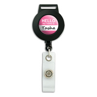Tasha Hello My Name Is Retractable Badge Card ID Holder