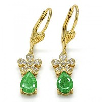 Gold Layered Dangle Earring, Flower and Teardrop Design, with Cubic Zirconia, Golden Tone