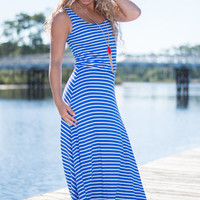 You're In My Bay Maxi Dress, Blue-White