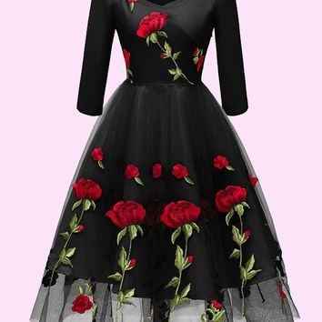 New Black Floral Off Shoulder Embroidery Grenadine Pleated Tutu Mexican Elegant Homecoming Party Midi Dress