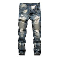 Vintage Men Slim Ripped Holes Pants Punk Jeans [164468654109]