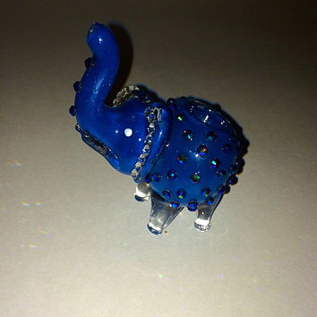 Midnight blue elephant glass pipe with Swarovski element ears tobacco use