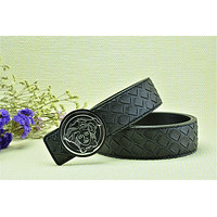 Authentic Versace Woven Pattern Belt Medusa Head Coffee Leather Black Buckle Belt