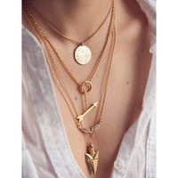 Meily(TM) Women Multilayer Irregular Crystal Gold Pendant Chain Statement Necklace