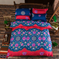 Boho Bedding Set Floral Bed Linen Home Textiles Printed Duvet Cover 4Pcs Twin Queen King Size  On Sale