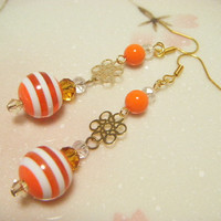 Orange dangle earrings, orange long dangle earrings, kawaii earrings, gift for her, spring earrings, gift under 10 dollars, handmade jewelry