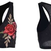 New Sexy Bandage V-Neck Lace Up Roses Embroidery Floral Black White Short Tops