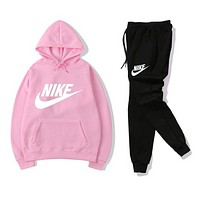 NIKE Women Print Hoodie Top Sweater Pants Sweatpants Set Two-Piece Sportswear