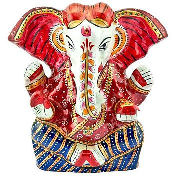 """Lord Ganesh Hand Painted Lacquer Statue - 5""""H, 5.5""""W"""
