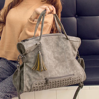 Vintage Tassel Punk Leather Crossbody Shoulder Handbag