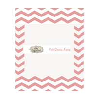 Pink Chevron Digital Frame, 8x10, PNG, Scrapbooking Invitations, Greeting Cards, and more