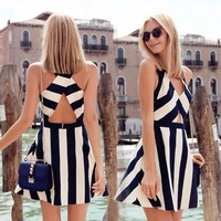 black&white striped vest navy dresses Hollow Out Chest Peplum Dresses