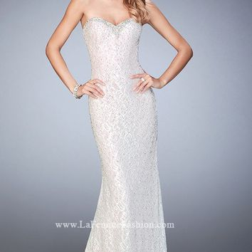 Strapless Lace Gown by La Femme