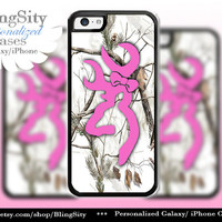 Pink Deer Monogram Iphone 5C case Browning iPhone 5s iPhone 4 case Ipod 4 5 case White Camo Bow Personalized Country Inspired Girl