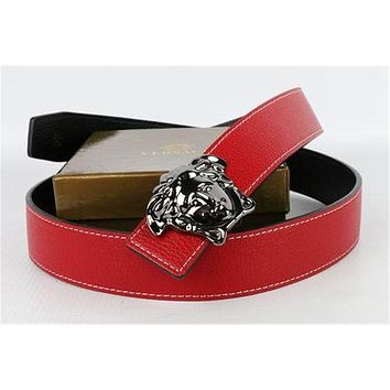 Versace Collections Mens Stainless Steel Silver Buckle Red Leather Versace Belt Multi