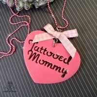 TATTOOED MOMMY - Laser Cut Acrylic Charm Necklace in Pink acrylic gingham 2 inches pink Any Age Female | runningwithscissorss - Jewelry on ArtFire