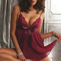 Burgundy Babydoll Draped Sexy Lingerie Sets - OuterInner