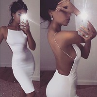 White Sexy Party Dresses Women Night Club dress backless Summer Dress Spaghetti Strap Bodycon Dress Vestidos