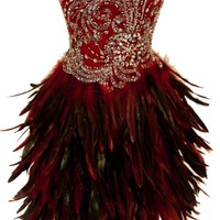 Meier Women's Strapless Corset Embellished Feather Short Dress